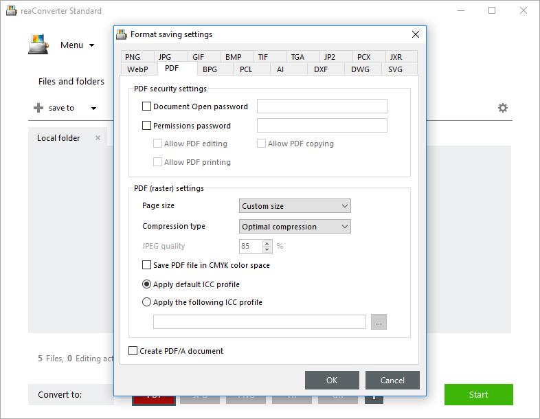 PDF Saving Settings