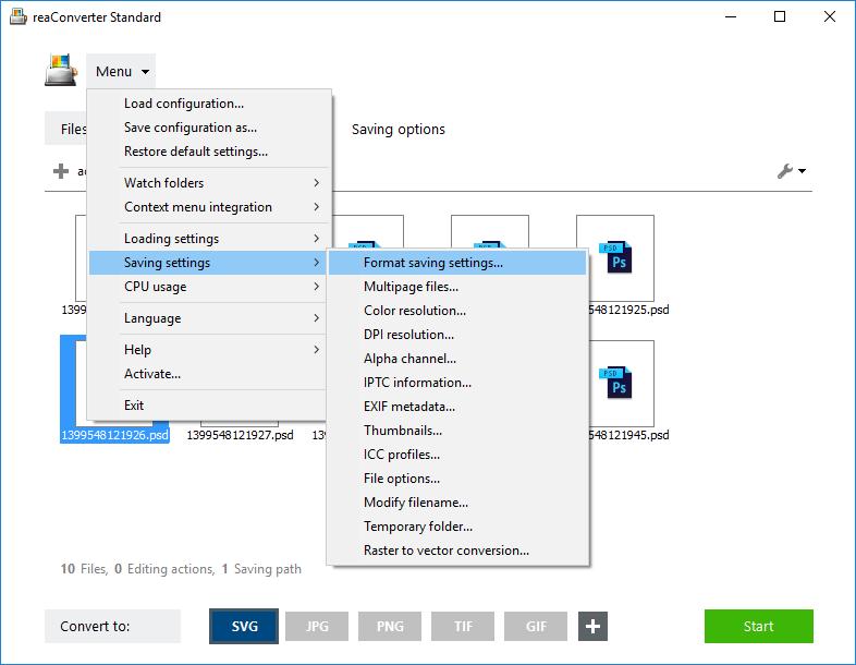 Format saving settings