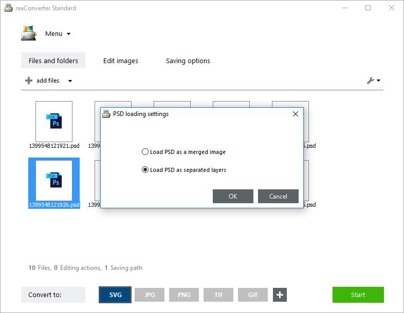 PSD loading settings
