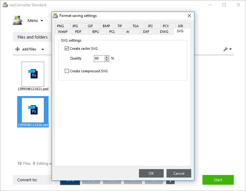 SVG saving settings
